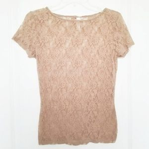 Apostrophe Nude Sheer Lace Floral Top